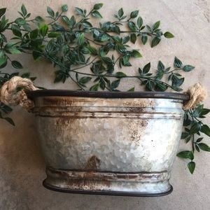 Rustic Small Metal Bucket Basket